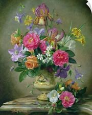 Wall Decal entitled Peonies and irises in a ceramic vase