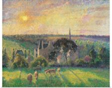 Poster Print Wall Art entitled Landscape at Eragny with Church and Farm, by