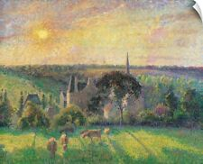 Wall Decal entitled Landscape at Eragny with Church and Farm, by Camille