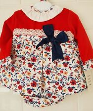 ae025dace601 Baby Girl Spanish Dress and Matching Bonnet Floral Beige White ...
