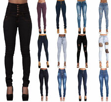 WOMENS HIGH WAISTED STRETCHY SKINNY JEANS LADIES DENIM