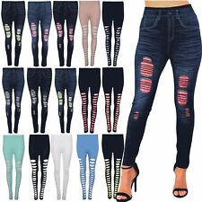 NEW WOMENS STRETCHY DENIM PRINT SKINNY JEAN LOOK THICK RIPPED LEGGING JEGGINGS