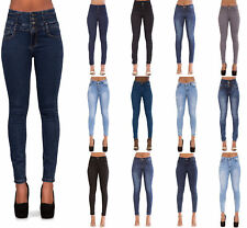 WOMENS HIGH WAISTED STRETCHY SKINNY JEANS LADIES DENIM Size 6-14