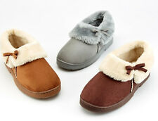 Ladies Womens Luxury Slip On Fur Collar Lined Faux Suede Winter Slippers Size