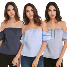 Casual Women Short Sleeve T Shirt Fashion Solid Off Shoulder Loose Tops Blouse