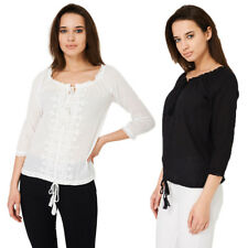 P93 - Women's Bohemian Style Embroidered Relax Top Blouse Tassels - UK 8-14