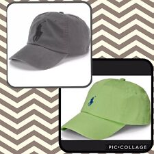 NWT Polo Ralph Lauren Mens Classic Big Pony Athletic Baseball Cap Hat Grey Green