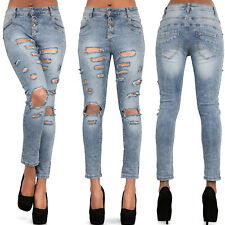 WOMEN'S MID RISE FRAYED OPEN RIPPED JEANS Skinny Denim Vintage Look SIZE 8-14