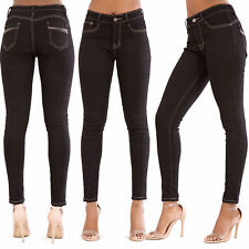 WOMEN'S SEXY BLACK SKINNY JEANS Stretchy Ladies Slim Fit Trousers SIZE 8-16
