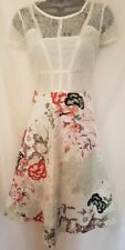 BNWT New NEXT White Pink Floral Lace Top Skater Prom Dress 10 Pet 12 14 Reg £85