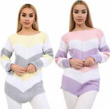 New Womens Ladies Chevron Stripe Knitted Jumper Long Sleeve Top Size UK 8-14
