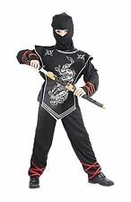 Childrens Novelty Silver Ninja Fighter Costume Kids Fancy Party Wear Outfit