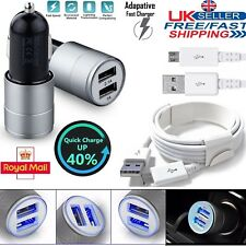 Dual Port Car Charger + Genuine USB Type C Cable for Samsung Galaxy S4 S5 S6 S7
