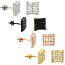Sterling Silver Cubic Zirconia Micro Pave 2D Square Screw Back Stud Earrings