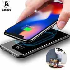 Baseus 8000mAh QI Wireless Charger Power Bank For iPhone X 8 LCD Dual USB