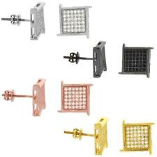 Sterling Silver Cubic Zirconia Micro Pave Square Grid Screw Back Stud Earrings