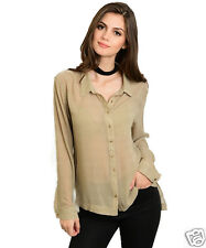 Beautifully Couture Taupe Manches Longues Chemise Bouton TAILLE S NEUVE