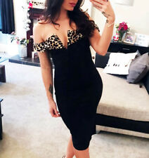 Leopard Print Black Fitted Dress Bodycon Off The Shoulder Evening Bardot
