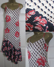 NEW M&S Floral Print Midi Asymmetric Dress Holiday Strappy Pink Navy Ivory 6-18
