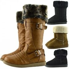 LADIES WINTER WOMENS GRIP SOLE MID CALF FAUX SHEEPSKIN FUR WARM SNOW BOOTS SHOES