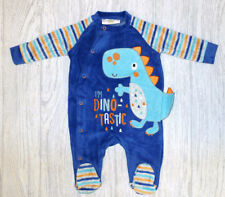 ca103280d9 Baby Boy Dinosaur Velour All In One   Baby Grow   Sleepsuit   Romper    Outfit
