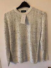Ladies Women Knitted Crew Neck Long Sleeve Cable Knit Jumper Chunky Sweater Top