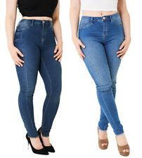 P45 - Ladies Blue High Waist Bodycon Raw Hem Skinny Jeggings Denim Jeans (6-10)