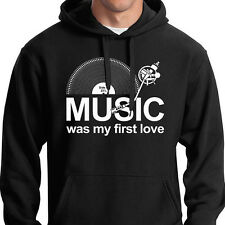 Music Was My First Love Sudadera con Capucha LP Records Dj Tocadiscos Cajón