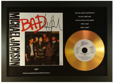 MICHAEL JACKSON 'BAD' SIGNED PHOTO GOLD DISC COLLECTABLE MEMORABILIA GIFT
