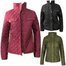 Womens Elbow Patches Funnel Neck Quilted Jacket Ladies Long Sleeve Pocketed Coat