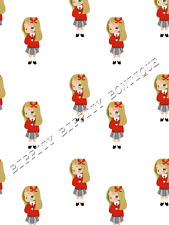 """GORGEOUS """"SCHOOL GIRL"""" BLONDE HAIR CANVAS PRINTED FABRIC SHEET.. BOWS CRAFTS"""