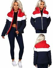 Ladies Zipper Red Navy Contrast Color Jacket Womens Long Sleeve Quilted Coat
