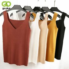 Sexy Crop Top Knitted Autumn Tank Top Women Blouse Sleeveless V Neck Top Female