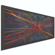 Abstract Painting Large Modern Art Dark Metal Artwork Charcoal Red Blue Decor