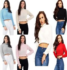 Womens Ruffle Frill Round Neck Knitted Crop Jumper Ladies Long Sleeve Sweater