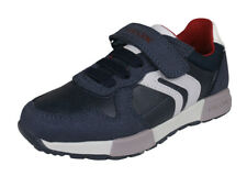 Geox J Alfier B.C Boys Leather Trainers Casual Shoes Lace-Up Strap Navy