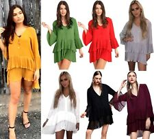 LADIES CONTRASTING PLEATED DRESS WOMENS ASYMMETRIC DOUBLE LAYER BLOUSE NEW
