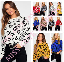 WOMENS LADIES STRETCH CASUAL KNITTED LEOPARD JUMPER WINTER TOP PLUS SIZE 8-22