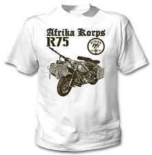 AFRICA KORPS R75 MOTORCYCLE GERMANY WWII - NEW COTTON WHITE TSHIRT
