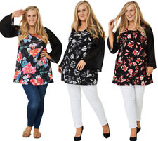 P34 - Ladies Plus Size Black Floral Sheer Fluted Long Sleeve Blouse Top (16-28)