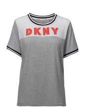DKNY Spell It Out S/S Black Logo PJ Top In Grey (2419352)