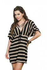E05 - Mapale Black/Mocha Flowing Striped Plunging Mini Cover Up Dress - 12 14 16