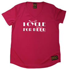 Cycling T-Shirt Funny Womens V Neck Sports Performance Tee - I Cycle For Beer