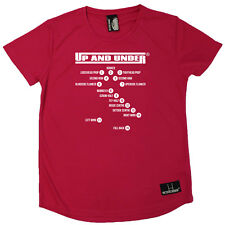 Rugby T-Shirt Funny Womens R Neck Sports Performance Tee - Rugby Positions