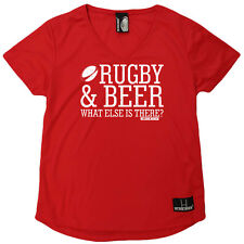 Rugby T-Shirt Funny Womens V Neck Sports Performance Tee - Rugby And Beer What E