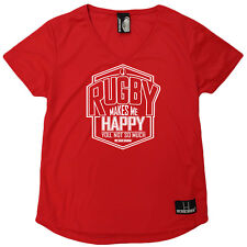 Rugby T-Shirt Funny Womens V Neck Sports Performance Tee - Rugby Makes Me Happy