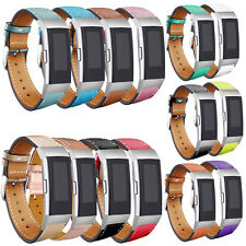 Replacement Leather Watch Band Strap For Fitbit Charge 3 Fitness Tracker