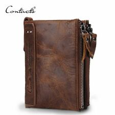 CONTACT'S HOT Genuine Crazy Horse Cowhide Leather Men Wallet Short Coin Purse