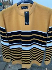 Ladies Women Knitted Crew Neck Long Sleeve Striped Jumper Sweater Top Sz S-XL