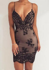 New Sexy Women Bandage Bodycon Cocktail Evening Party Sequins Prom Dresses
